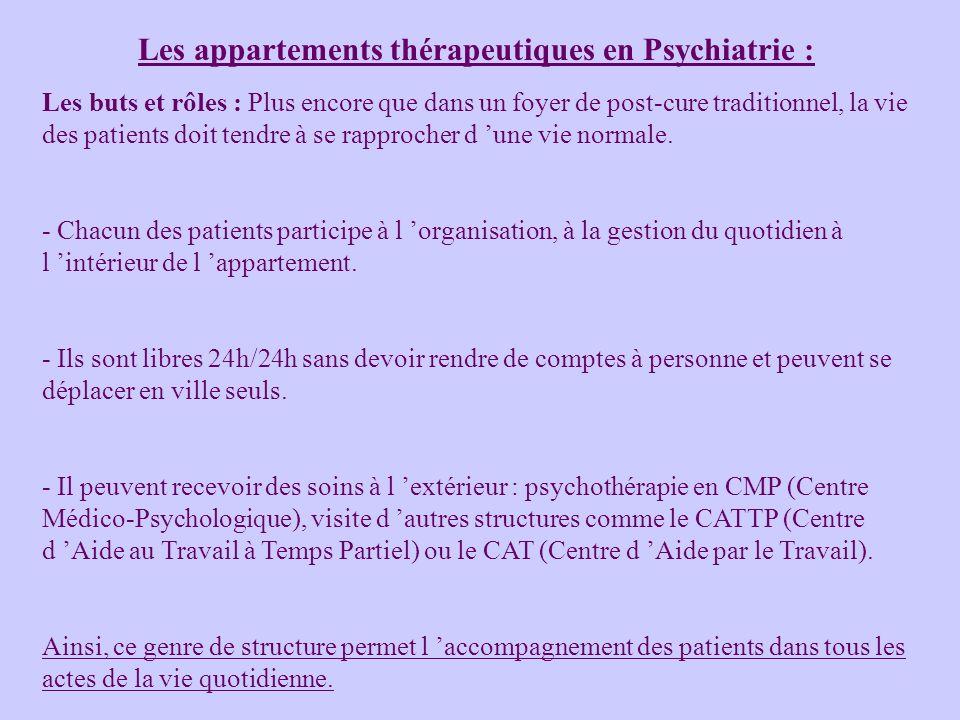 Les appartements thérapeutiques en Psychiatrie : Les buts et rôles : Plus encore que dans un foyer de post-cure traditionnel, la vie des patients doit tendre à se rapprocher d une vie normale.