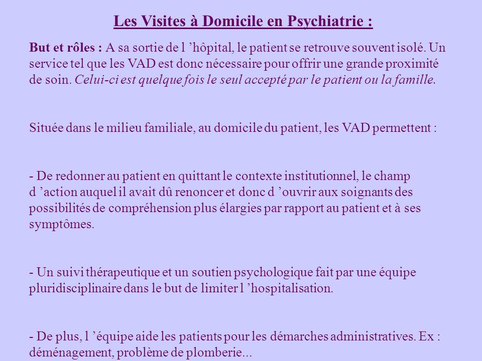 Les Visites à Domicile en Psychiatrie : But et rôles : A sa sortie de l hôpital, le patient se retrouve souvent isolé. Un service tel que les VAD est