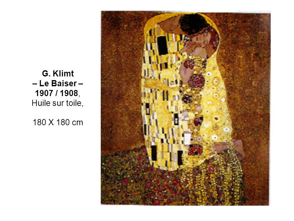 G. Klimt – Le Baiser – 1907 / 1908, Huile sur toile, 180 X 180 cm