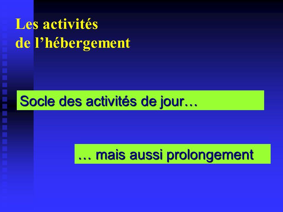 Les activités de lhébergement Socle des activités de jour… … mais aussi prolongement