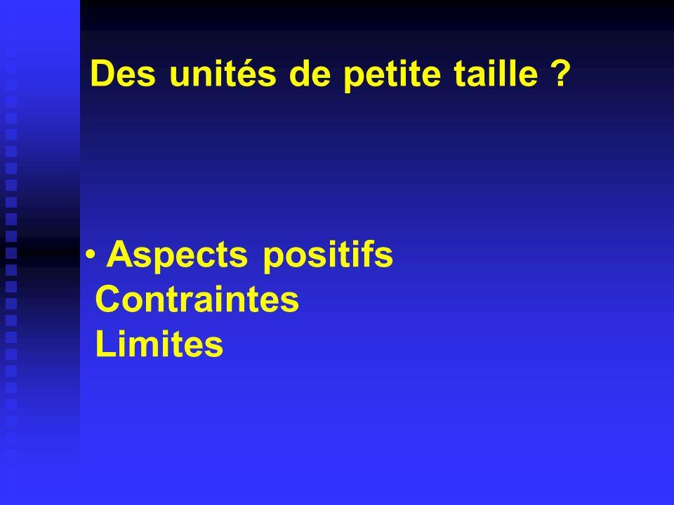 Aspects positifs Contraintes Limites Des unités de petite taille ?