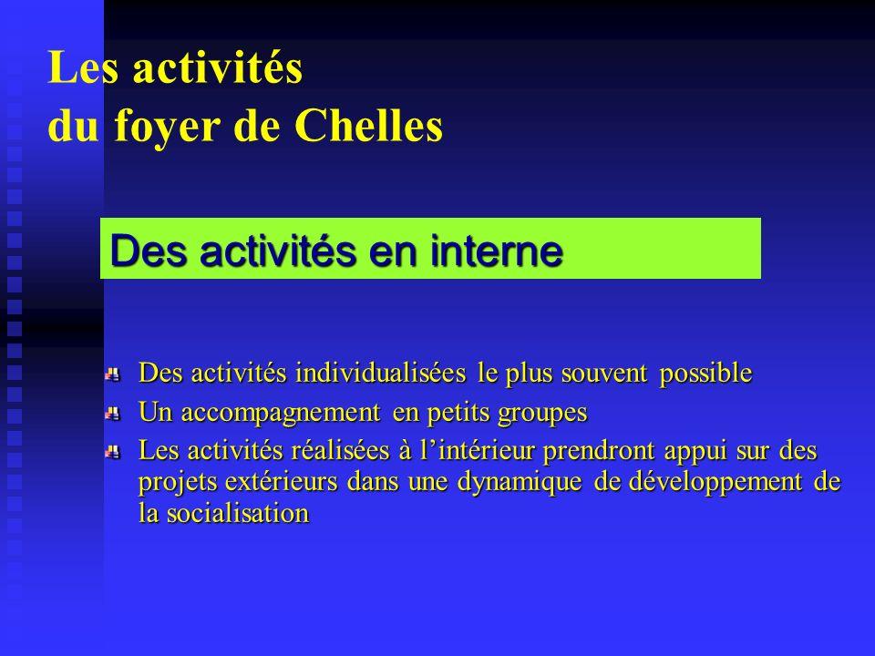 Les activités du foyer de Chelles Des activités individualisées le plus souvent possible Un accompagnement en petits groupes Les activités réalisées à