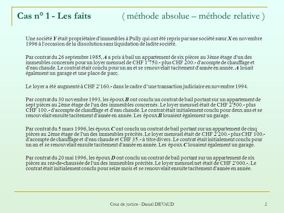 Cour de justice - Daniel DEVAUD 23 Cas n° 8 - Les faits ( utilisation de la formule officielle ) L administration des immeubles de la ville de Bâle loue depuis 1986 un appartement de quatre pièces à A pour un loyer mensuel net de CHF 476.-.