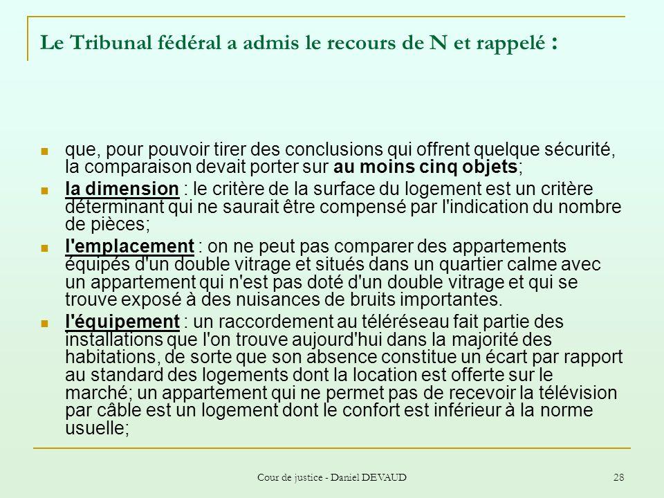 Cour de justice - Daniel DEVAUD 28 Le Tribunal fédéral a admis le recours de N et rappelé : que, pour pouvoir tirer des conclusions qui offrent quelqu