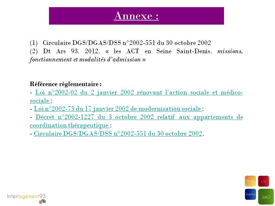 (1) Circulaire DGS/DGAS/DSS n°2002-551 du 30 octobre 2002 (2) Dt Ars 93, 2012, « les ACT en Seine Saint-Denis, missions, fonctionnement et modalités d