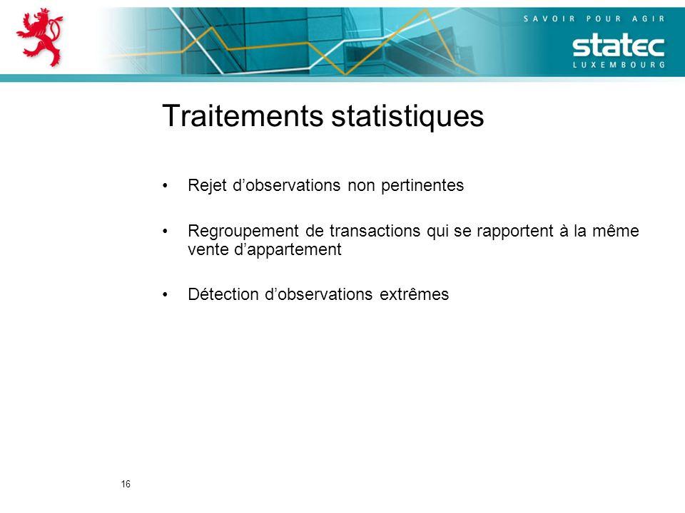 16 Traitements statistiques Rejet dobservations non pertinentes Regroupement de transactions qui se rapportent à la même vente dappartement Détection