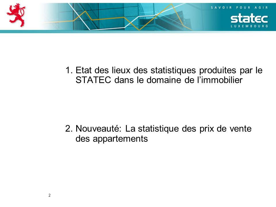 2 1.Etat des lieux des statistiques produites par le STATEC dans le domaine de limmobilier 2.Nouveauté: La statistique des prix de vente des apparteme
