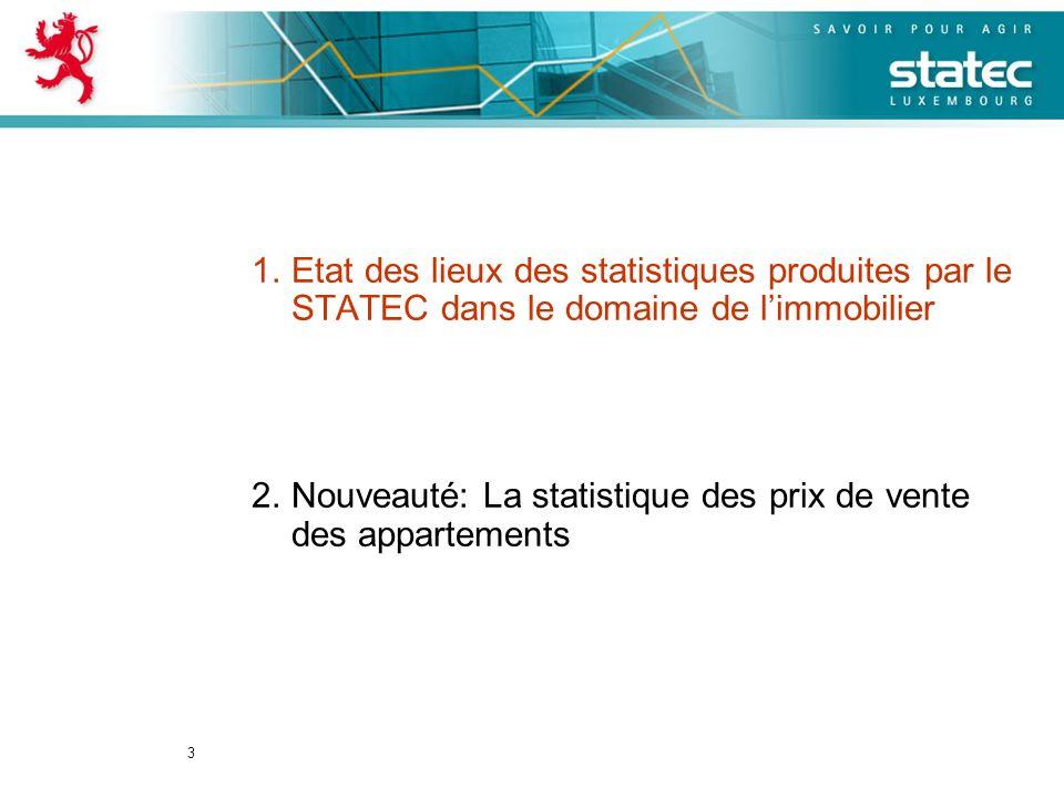 3 1.Etat des lieux des statistiques produites par le STATEC dans le domaine de limmobilier 2.Nouveauté: La statistique des prix de vente des apparteme