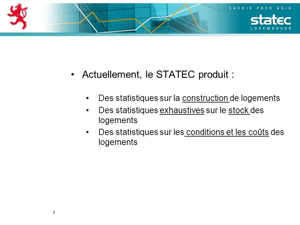 4 Actuellement, le STATEC produit : Des statistiques sur la construction de logements Des statistiques exhaustives sur le stock des logements Des statistiques sur les conditions et les coûts des logements