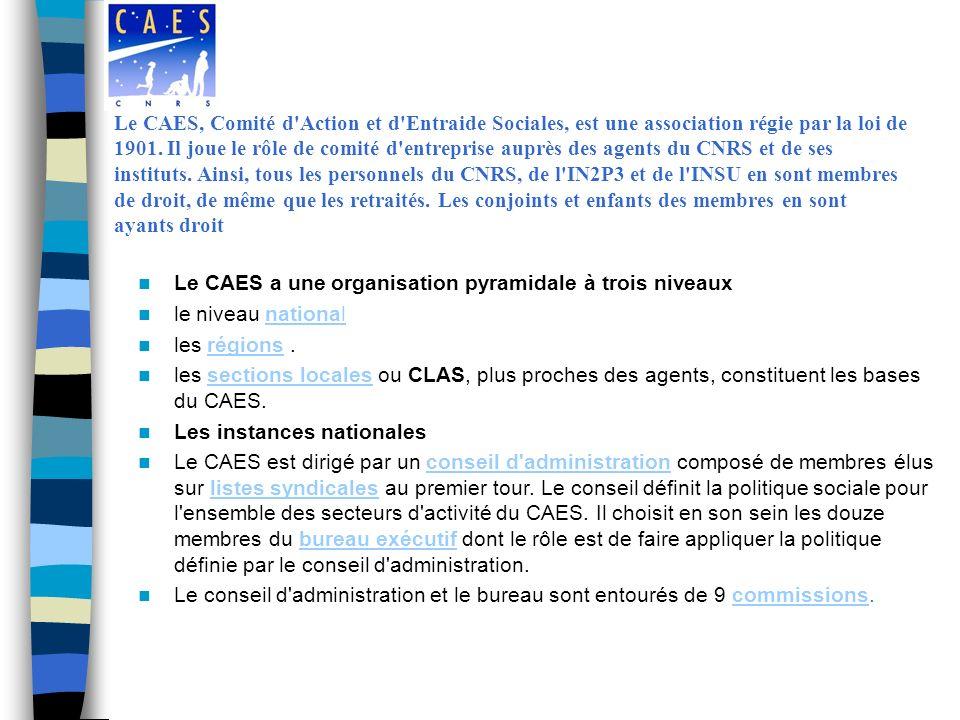 Le CAES a une organisation pyramidale à trois niveaux le niveau nationalnational les régions.régions les sections locales ou CLAS, plus proches des agents, constituent les bases du CAES.sections locales Les instances nationales Le CAES est dirigé par un conseil d administration composé de membres élus sur listes syndicales au premier tour.