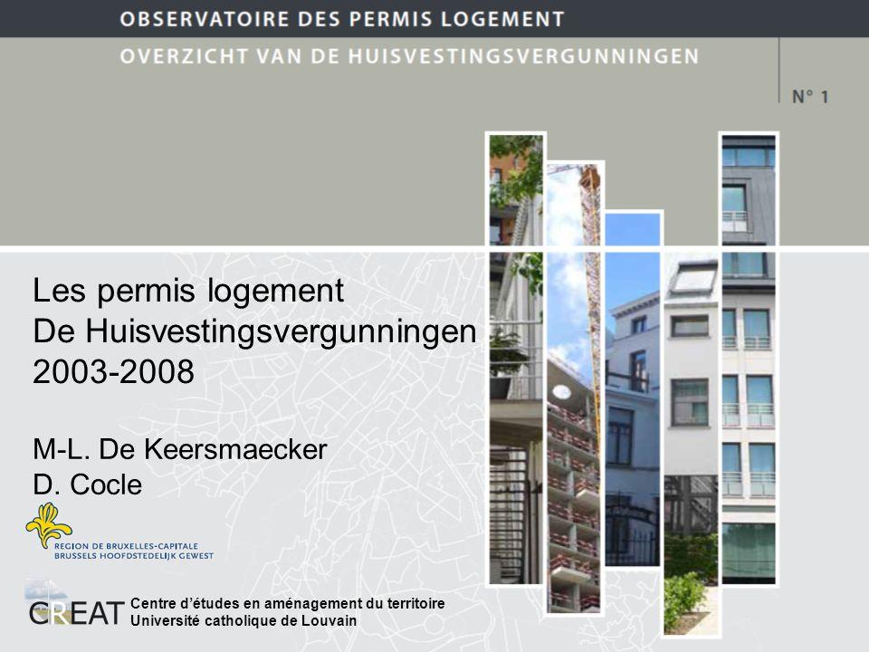 Les permis logement De Huisvestingsvergunningen 2003-2008 Centre détudes en aménagement du territoire Université catholique de Louvain M-L.