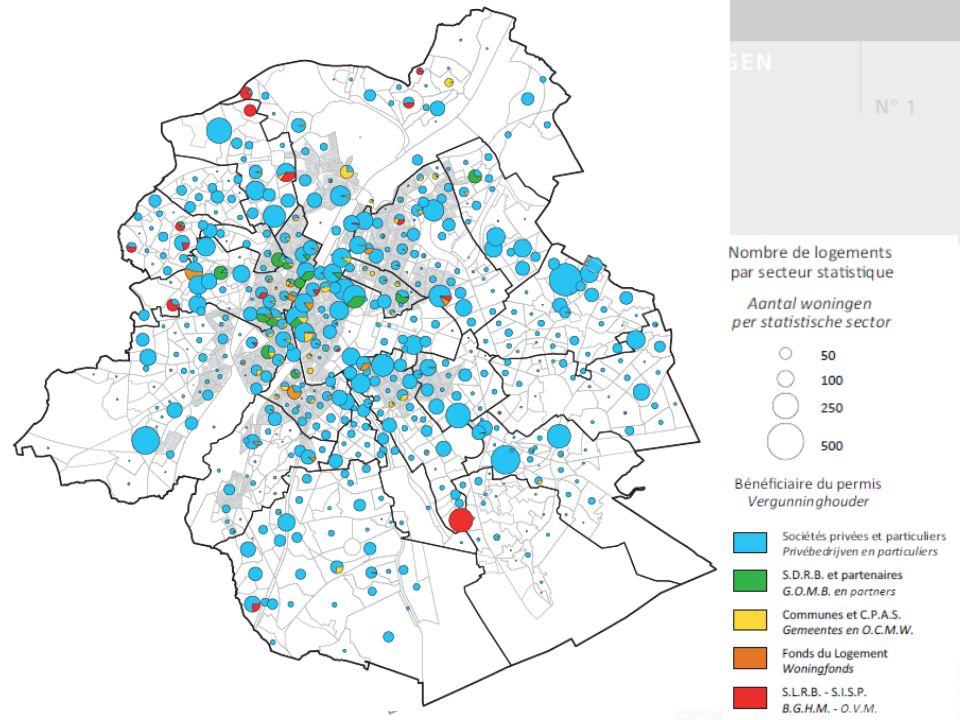 Les logements publics Attention particulière à la production de grands logements (3 – 4 chambres et +) Surreprésentation dans les quartiers centraux et dans EDRLR 1/3 de la production totale sur 16% de la superficie régionale affectée au logement