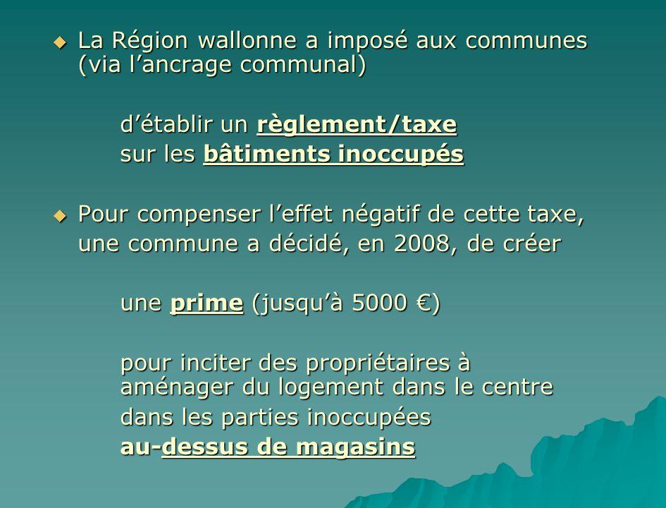 La Région wallonne a imposé aux communes (via lancrage communal) La Région wallonne a imposé aux communes (via lancrage communal) détablir un règlemen