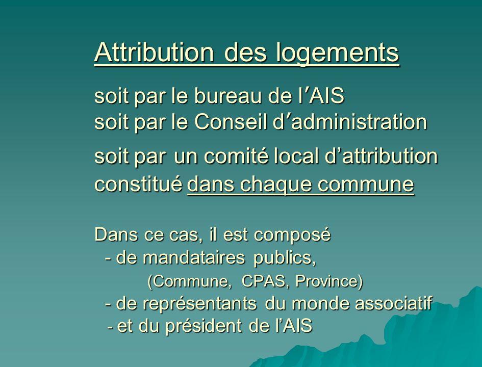 Attribution des logements soit par le bureau de l AIS soit par le Conseil d administration soit par un comité local dattribution constitué dans chaque