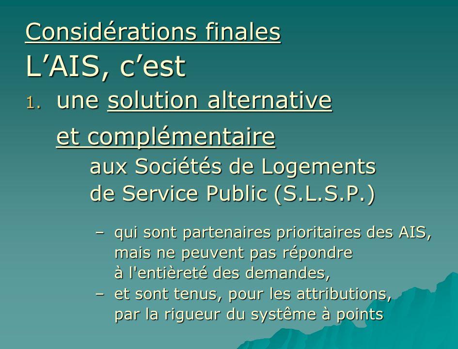 Considérations finales LAIS, cest 1. une solution alternative et complémentaire aux Sociétés de Logements de Service Public (S.L.S.P.) –qui sont parte