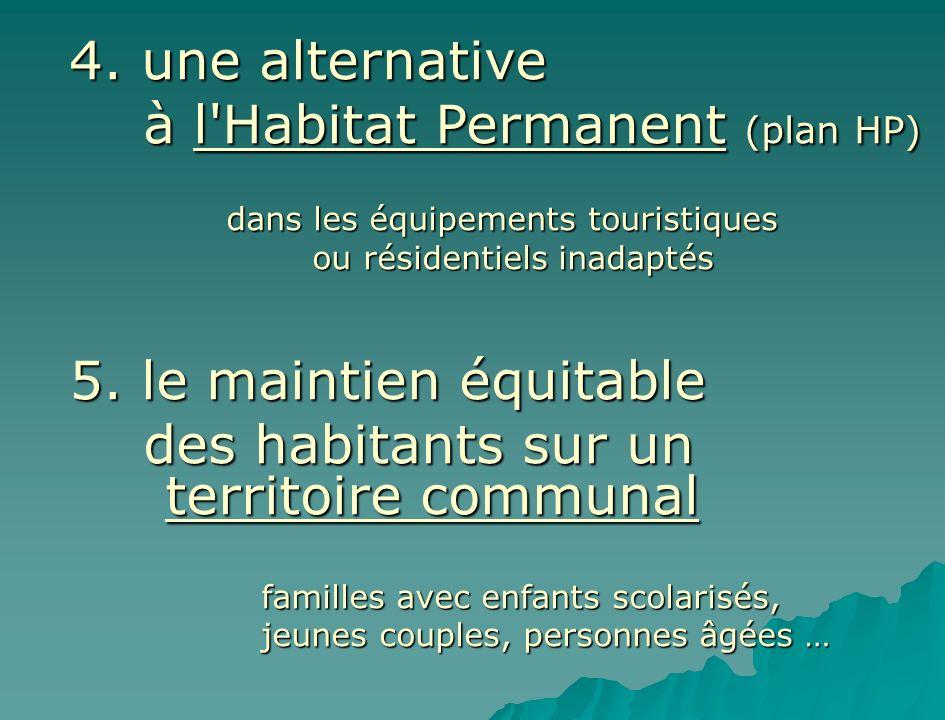 4. une alternative à l'Habitat Permanent (plan HP) à l'Habitat Permanent (plan HP) dans les équipements touristiques ou résidentiels inadaptés ou rési