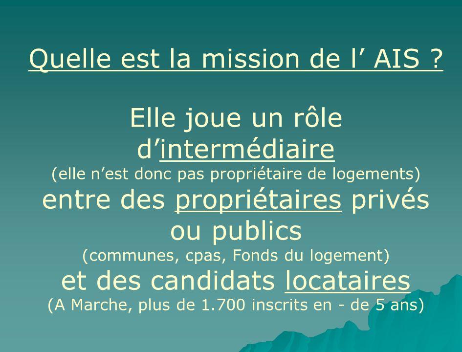 Quelle est la mission de l AIS ? Elle joue un rôle dintermédiaire (elle nest donc pas propriétaire de logements) entre des propriétaires privés ou pub