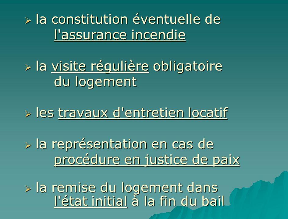 la constitution éventuelle de la constitution éventuelle de l'assurance incendie la visite régulière obligatoire la visite régulière obligatoire du lo