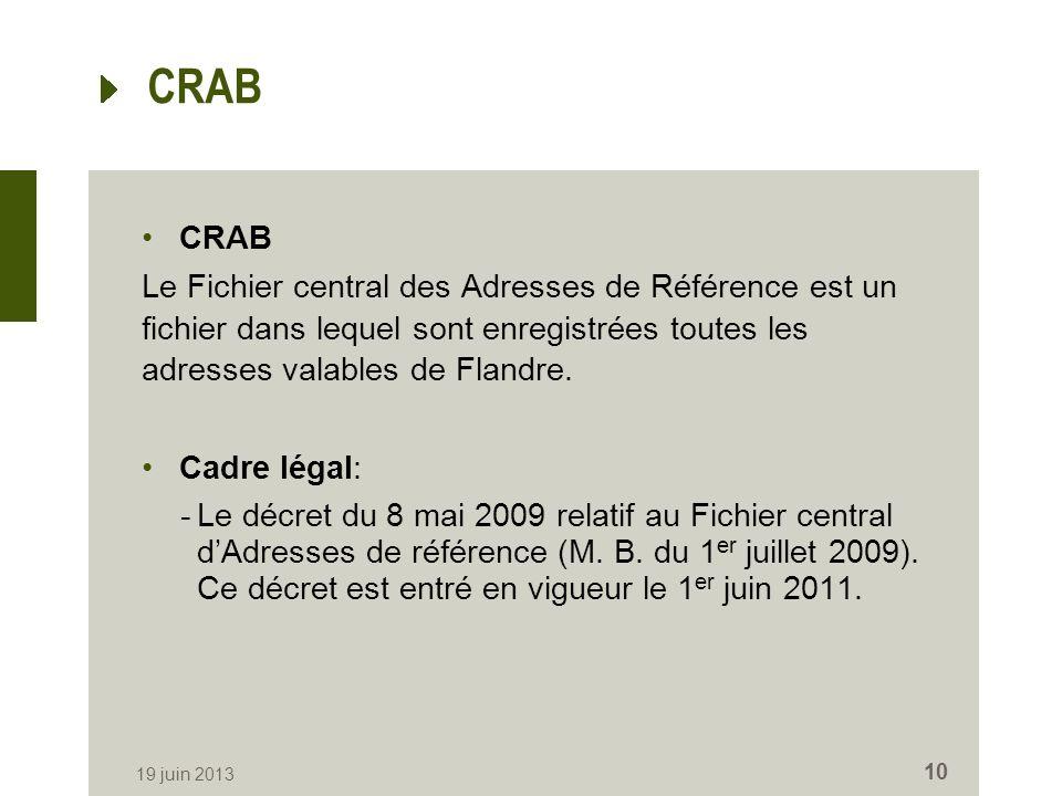 CRAB Le Fichier central des Adresses de Référence est un fichier dans lequel sont enregistrées toutes les adresses valables de Flandre. Cadre légal: -