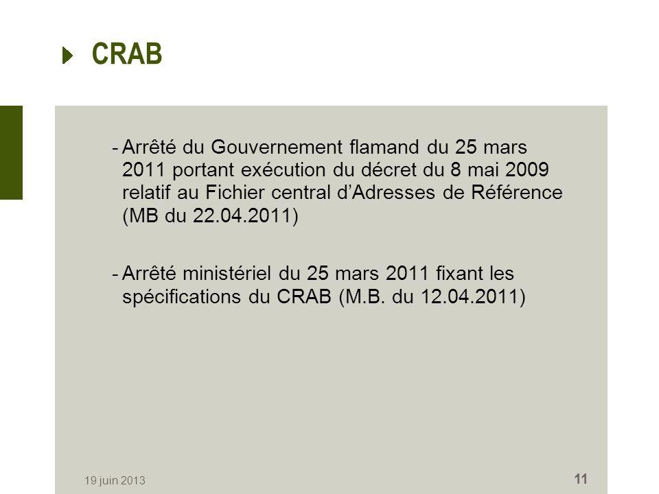 CRAB -Arrêté du Gouvernement flamand du 25 mars 2011 portant exécution du décret du 8 mai 2009 relatif au Fichier central dAdresses de Référence (MB du 22.04.2011) -Arrêté ministériel du 25 mars 2011 fixant les spécifications du CRAB (M.B.