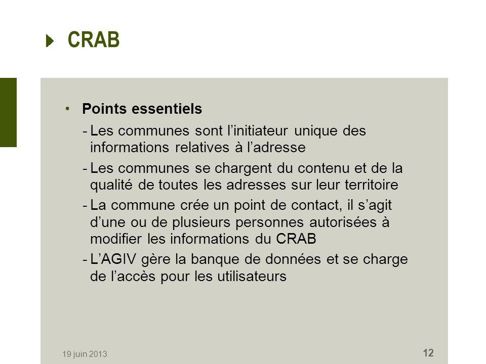 CRAB Points essentiels -Les communes sont linitiateur unique des informations relatives à ladresse -Les communes se chargent du contenu et de la quali