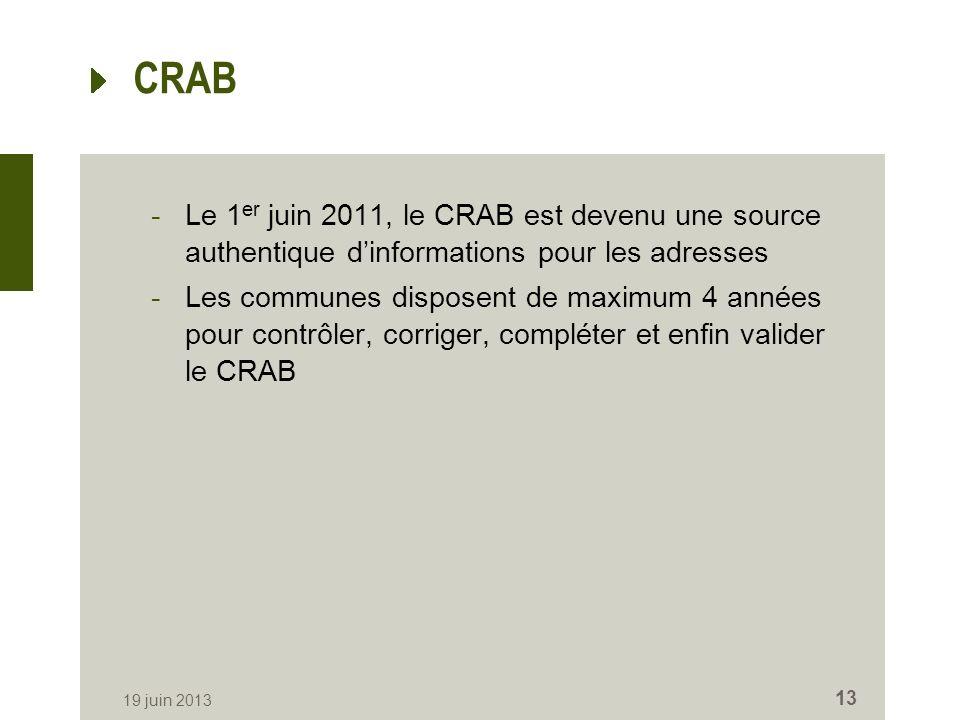 CRAB -Le 1 er juin 2011, le CRAB est devenu une source authentique dinformations pour les adresses -Les communes disposent de maximum 4 années pour contrôler, corriger, compléter et enfin valider le CRAB 19 juin 2013 13