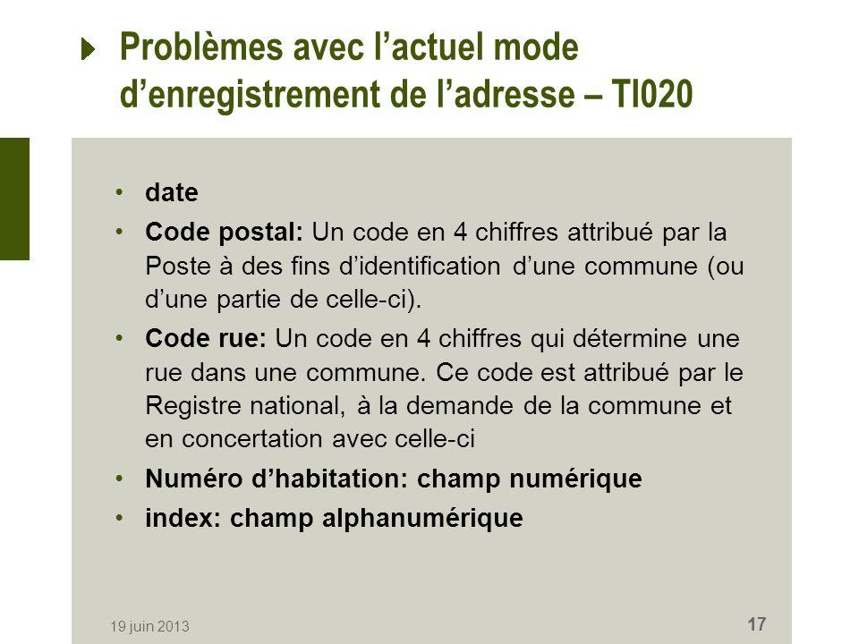 19 juin 2013 17 Problèmes avec lactuel mode denregistrement de ladresse – TI020 date Code postal: Un code en 4 chiffres attribué par la Poste à des fins didentification dune commune (ou dune partie de celle-ci).