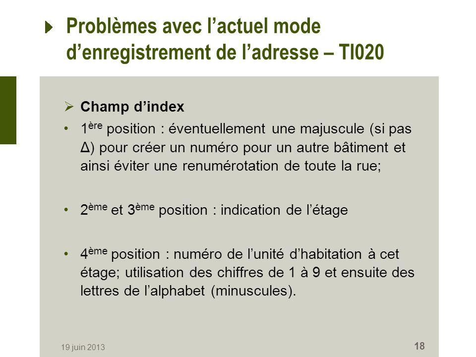 Problèmes avec lactuel mode denregistrement de ladresse – TI020 Champ dindex 1 ère position : éventuellement une majuscule (si pas Δ) pour créer un nu