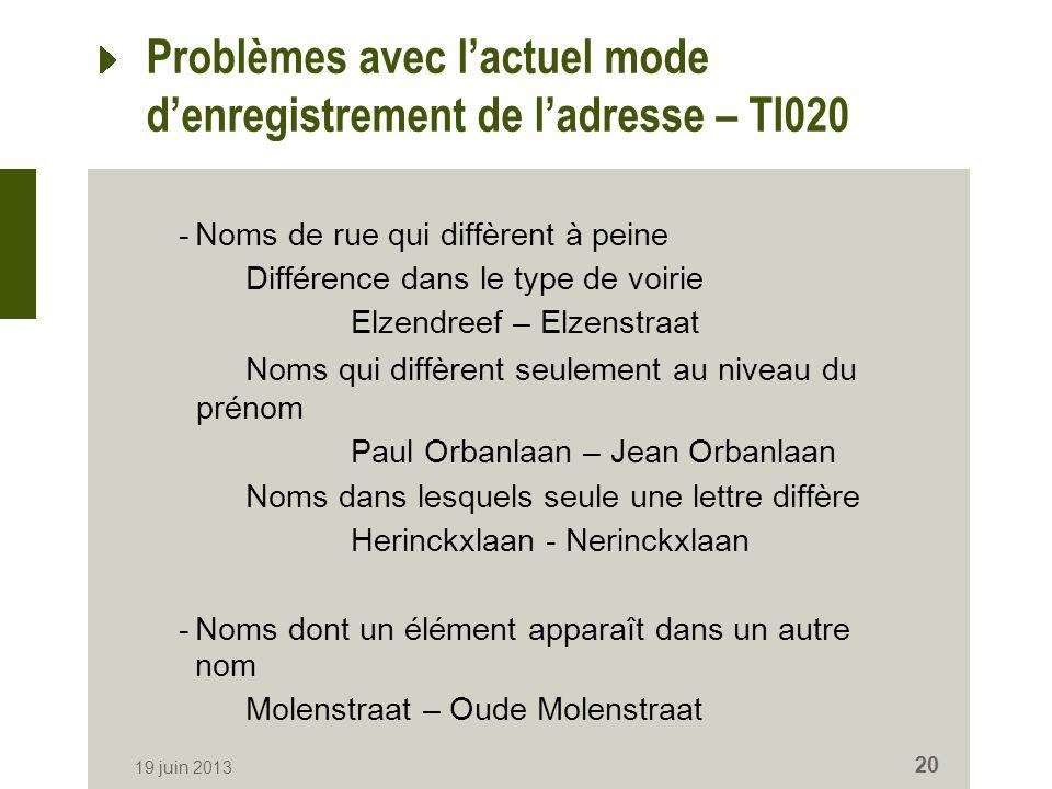 Problèmes avec lactuel mode denregistrement de ladresse – TI020 -Noms de rue qui diffèrent à peine Différence dans le type de voirie Elzendreef – Elze