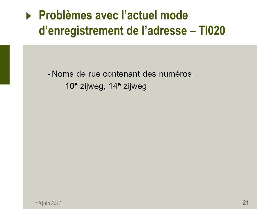 Problèmes avec lactuel mode denregistrement de ladresse – TI020 -Noms de rue contenant des numéros 10 e zijweg, 14 e zijweg 19 juin 2013 21