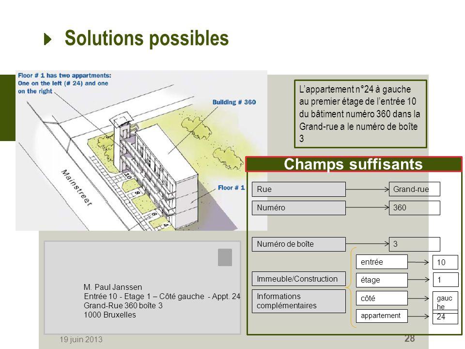 Solutions possibles 19 juin 2013 28 Lappartement n°24 à gauche au premier étage de lentrée 10 du bâtiment numéro 360 dans la Grand-rue a le numéro de boîte 3 M.