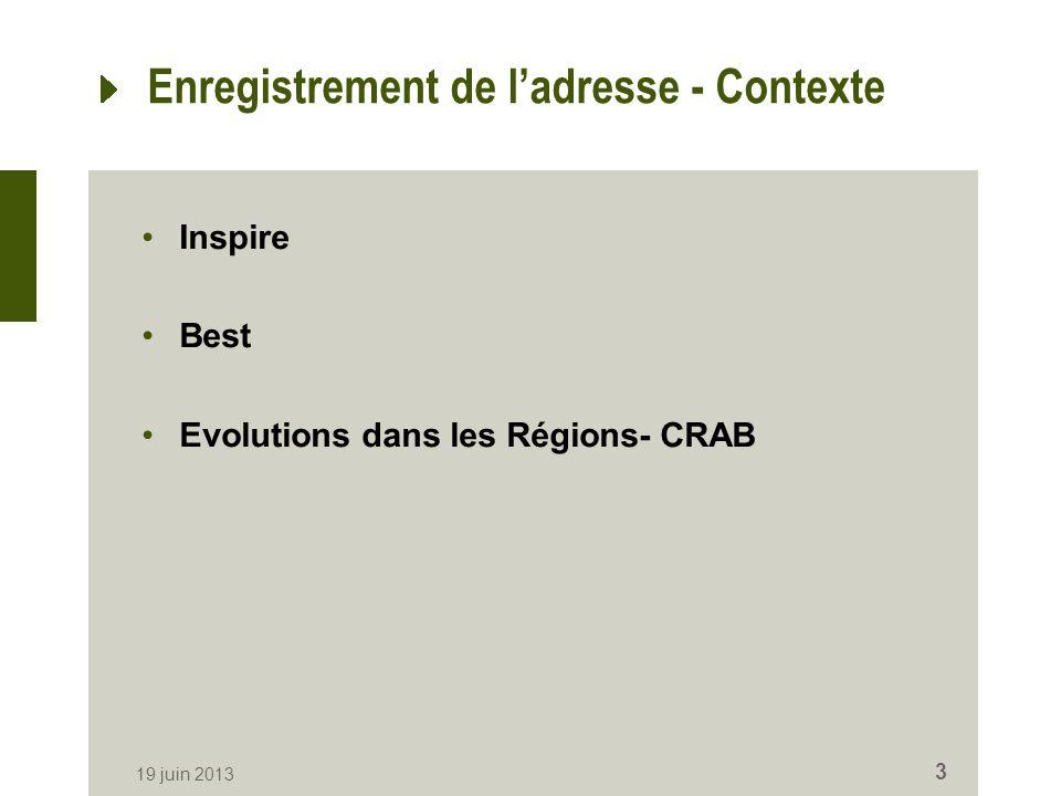 Enregistrement de ladresse - Contexte Inspire Best Evolutions dans les Régions- CRAB 19 juin 2013 3
