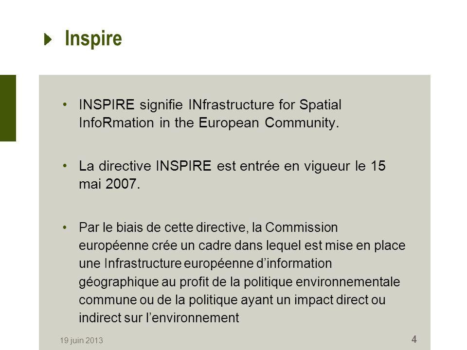 Inspire INSPIRE signifie INfrastructure for Spatial InfoRmation in the European Community. La directive INSPIRE est entrée en vigueur le 15 mai 2007.