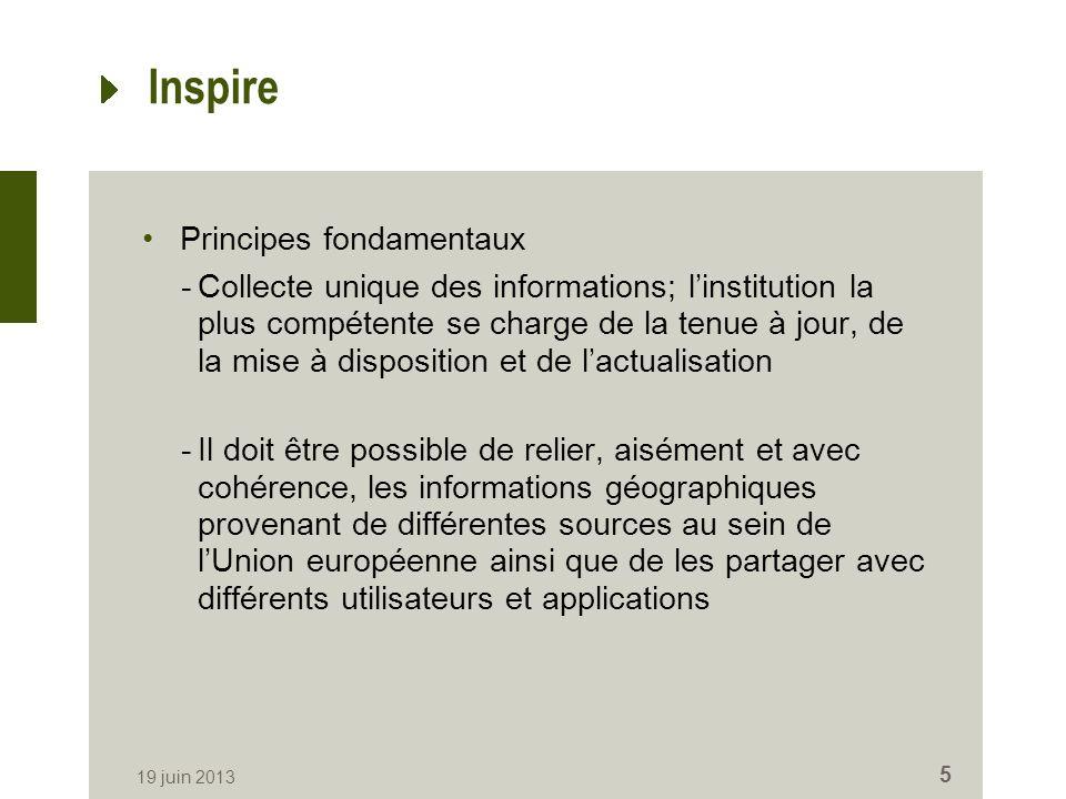 Inspire Principes fondamentaux -Collecte unique des informations; linstitution la plus compétente se charge de la tenue à jour, de la mise à disposition et de lactualisation -Il doit être possible de relier, aisément et avec cohérence, les informations géographiques provenant de différentes sources au sein de lUnion européenne ainsi que de les partager avec différents utilisateurs et applications 19 juin 2013 5