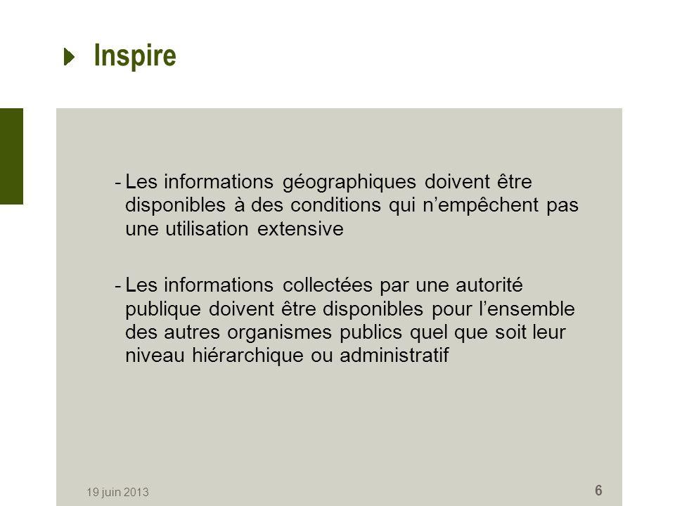 Inspire -Les informations géographiques doivent être disponibles à des conditions qui nempêchent pas une utilisation extensive -Les informations colle
