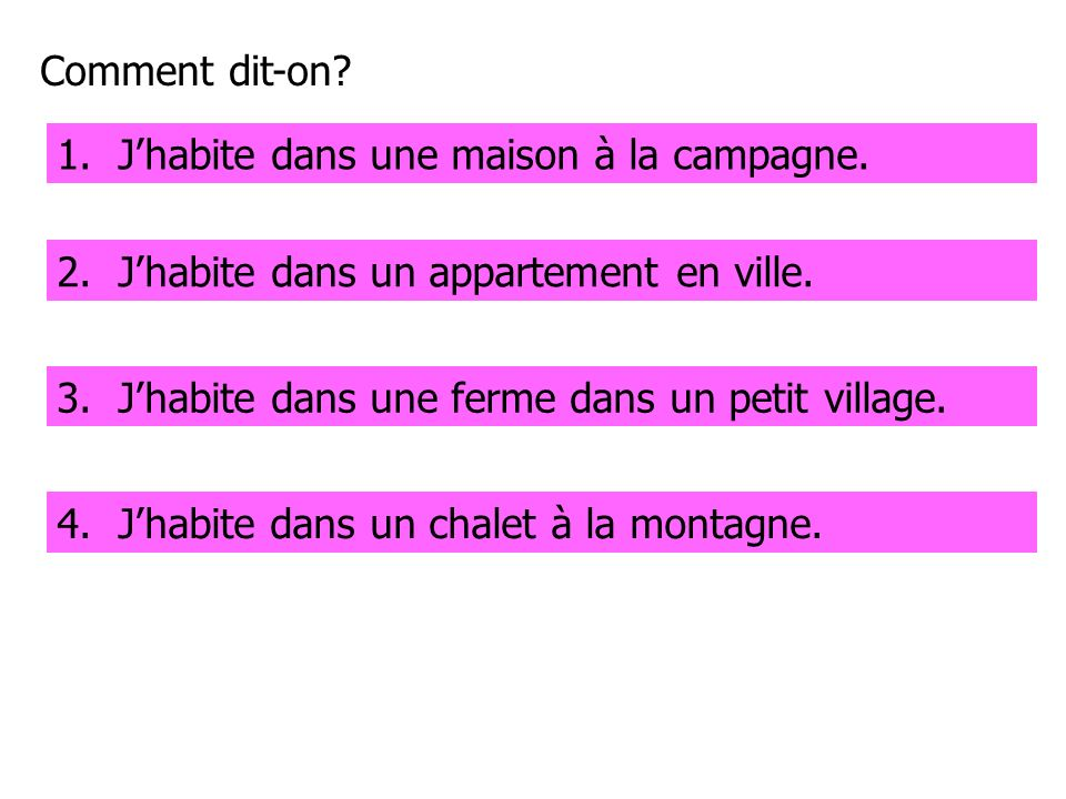 Comment dit-on.1. I live in a house in the country.1.