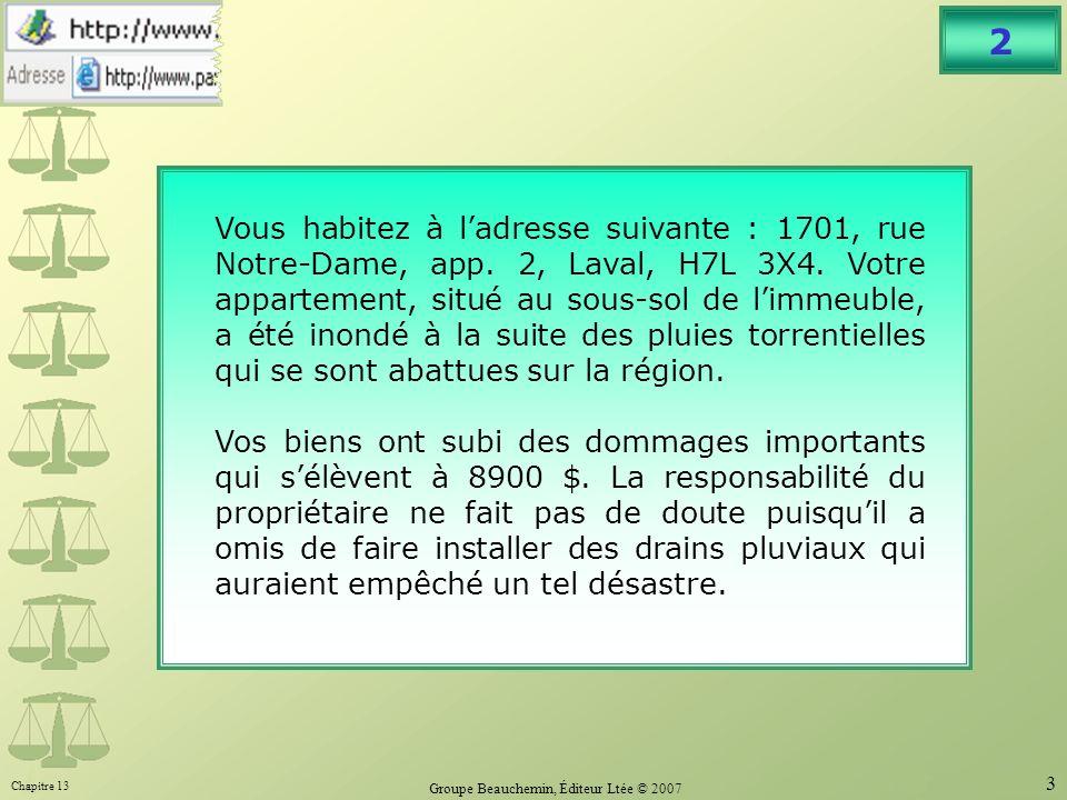 Chapitre 13 Groupe Beauchemin, Éditeur Ltée © 2007 3 2 Vous habitez à ladresse suivante : 1701, rue Notre-Dame, app.