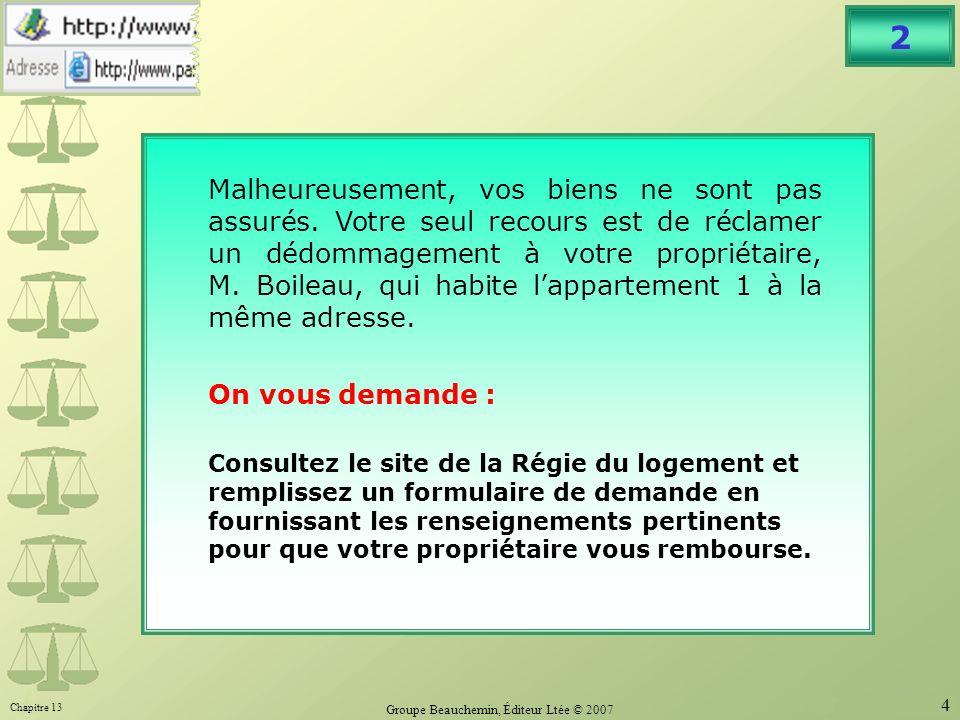 Chapitre 13 Groupe Beauchemin, Éditeur Ltée © 2007 4 2 Malheureusement, vos biens ne sont pas assurés.