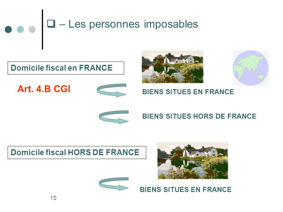 10 – Les personnes imposables Domicile fiscal en FRANCE Domicile fiscal HORS DE FRANCE BIENS SITUES EN FRANCE BIENS SITUES HORS DE FRANCE BIENS SITUES