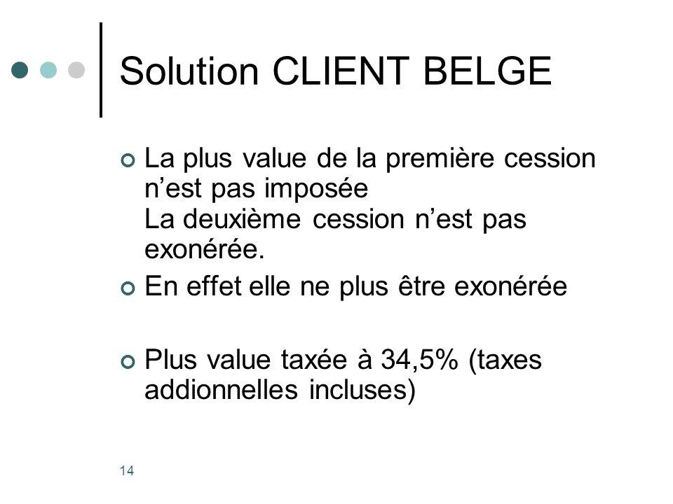 14 Solution CLIENT BELGE La plus value de la première cession nest pas imposée La deuxième cession nest pas exonérée. En effet elle ne plus être exoné
