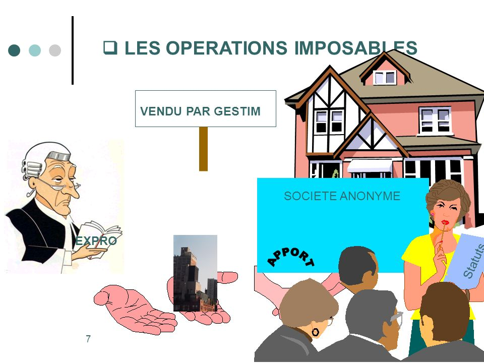 7 LES OPERATIONS IMPOSABLES VENDU PAR GESTIM EXPRO SOCIETE ANONYME S t a t u t s