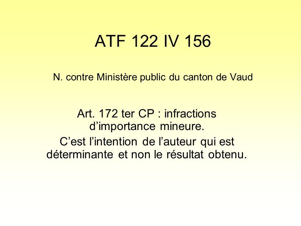 ATF 122 IV 156 N. contre Ministère public du canton de Vaud Art.