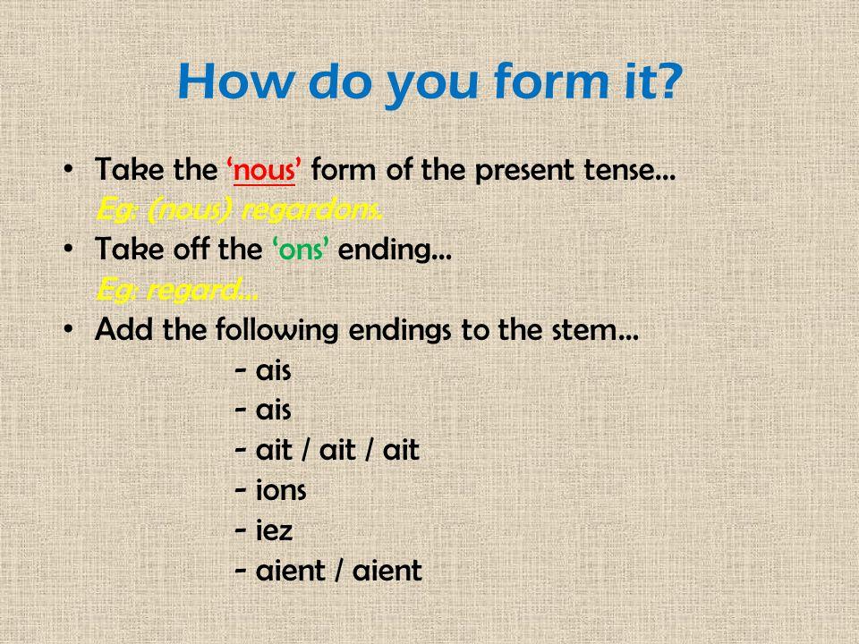 Un exemple: ÉCOUTER Present tense of écouter:nous écoutons Remove the ons ending:écout...