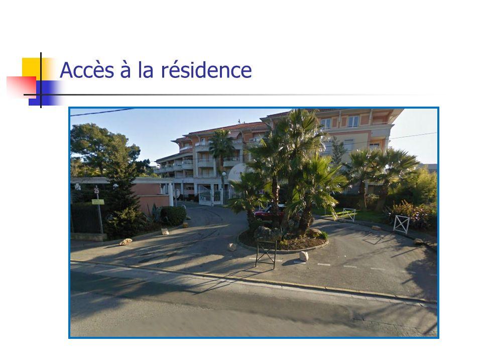 Accès à la résidence Accès hall de la résidence Accès piscine Accès bâtiment B Accès couloir extérieur bat B