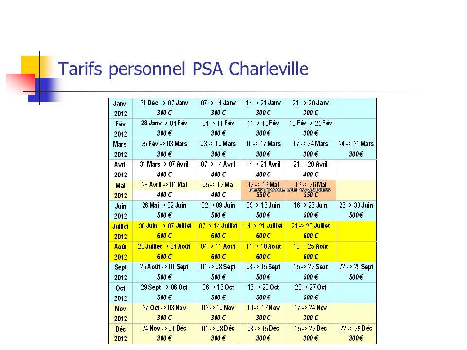 Tarifs personnel PSA Charleville