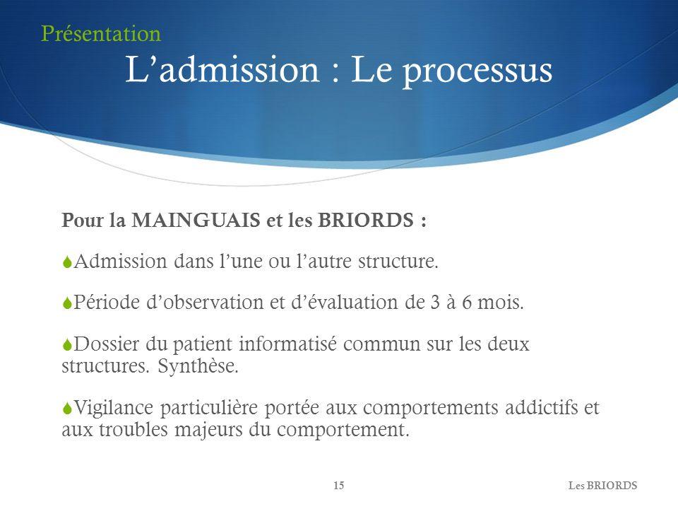 Ladmission : Le processus Pour la MAINGUAIS et les BRIORDS : Admission dans lune ou lautre structure. Période dobservation et dévaluation de 3 à 6 moi