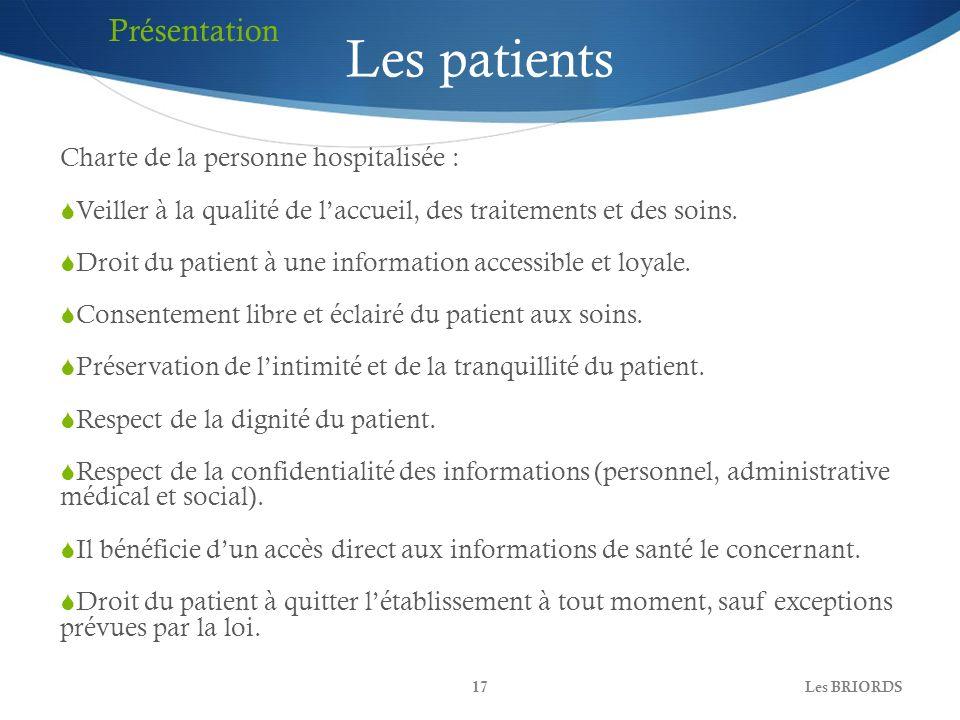 Les BRIORDS17 Les patients Charte de la personne hospitalisée : Veiller à la qualité de laccueil, des traitements et des soins. Droit du patient à une