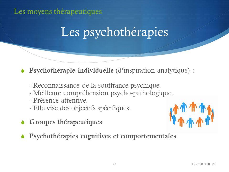 Les psychothérapies Psychothérapie individuelle (dinspiration analytique) : - Reconnaissance de la souffrance psychique. - Meilleure compréhension psy