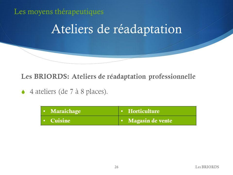 Les BRIORDS: Ateliers de réadaptation professionnelle 4 ateliers (de 7 à 8 places). Les BRIORDS26 Les moyens thérapeutiques Ateliers de réadaptation M