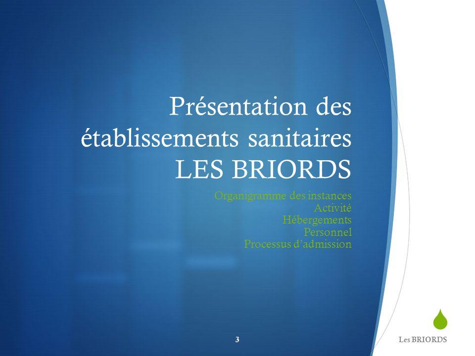 Présentation des établissements sanitaires LES BRIORDS Organigramme des instances Activité Hébergements Personnel Processus dadmission Les BRIORDS3